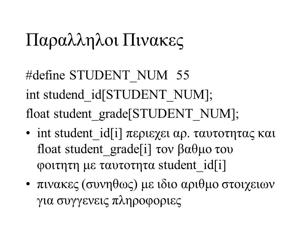Παραλληλοι Πινακες #define STUDENT_NUM 55 int studend_id[STUDENT_NUM];